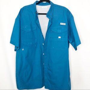Teal columbia fishing shirt pfg size large blue